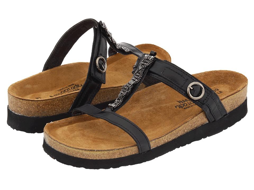 3538c44569ec Naot-Malibu (Black Madras Leather) Womens Slide Shoes