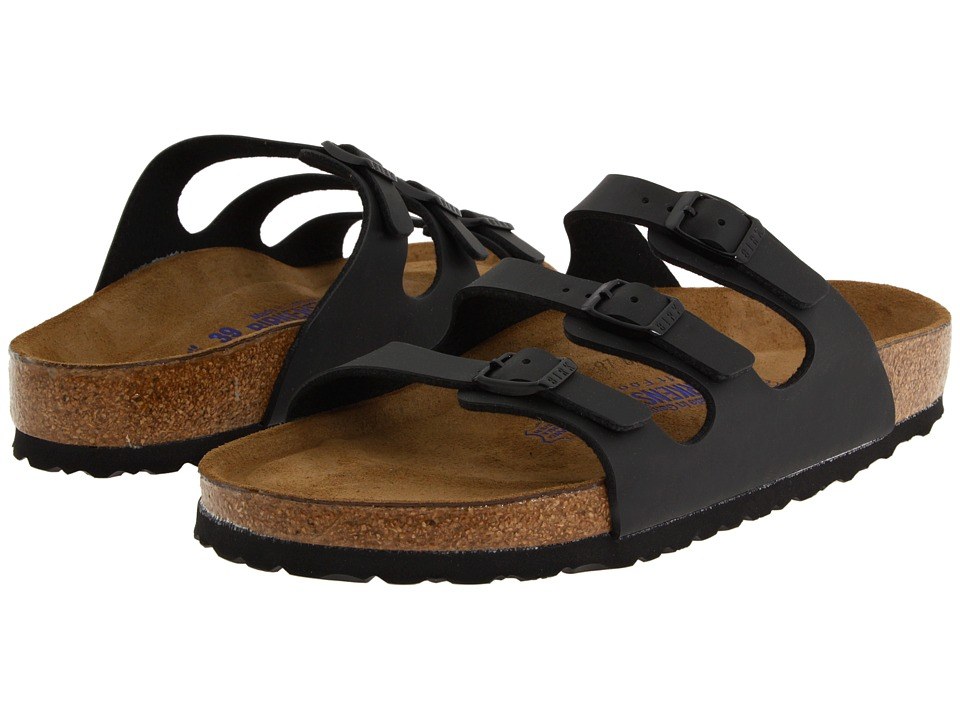 Birkenstock Florida Soft Footbed Birko-Flor (Black Birko-Flor) Women