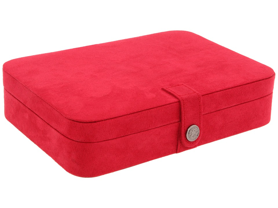 Mele Maria Plush Compartment Travel Case Jewelry Box Red Jewelry Boxes Small Furniture