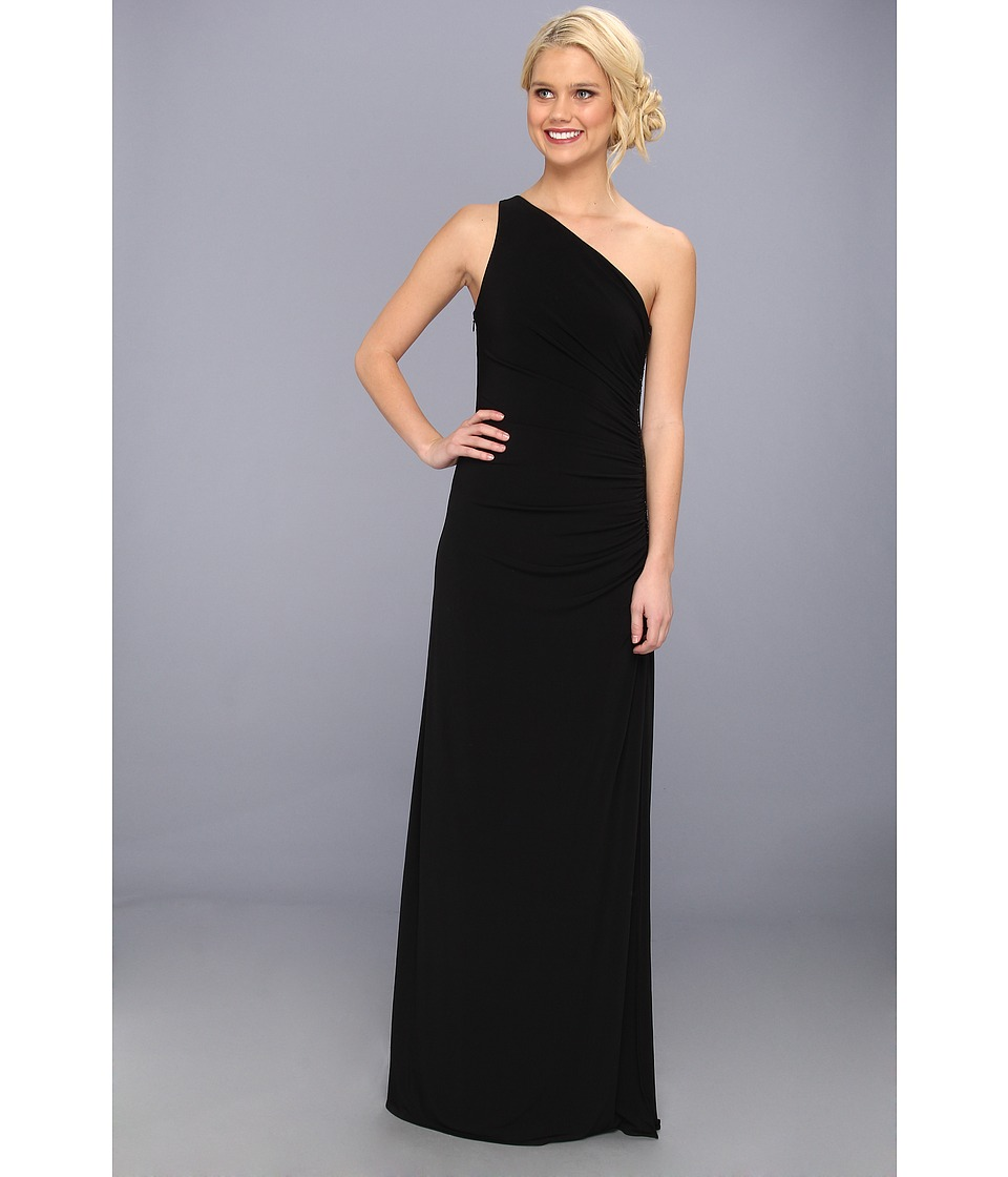 Laundry by Shelli Segal - One Shoulder Sleeveless Gown w/ Side Sequins (Black) Womens Dress
