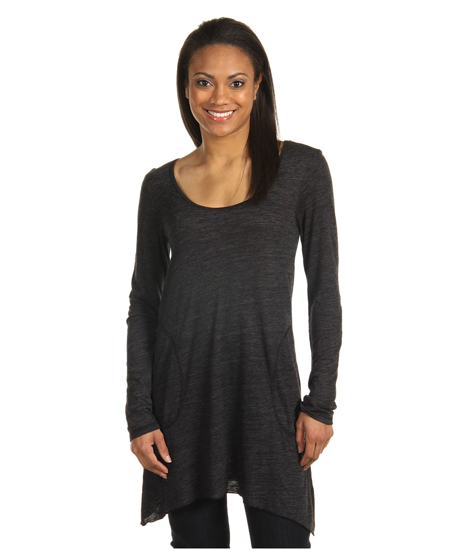 Allen Allen L/S Angled 2-Pocket Scoop Tunic (Black) Women