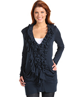 Blue Tassel - Ruffle Trim Open Cardigan