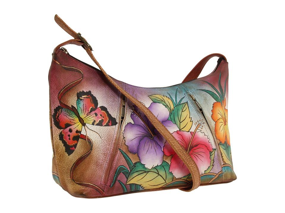 Anuschka Handbags - 450 Medium Zippered Hobo (Hawiian Hib...