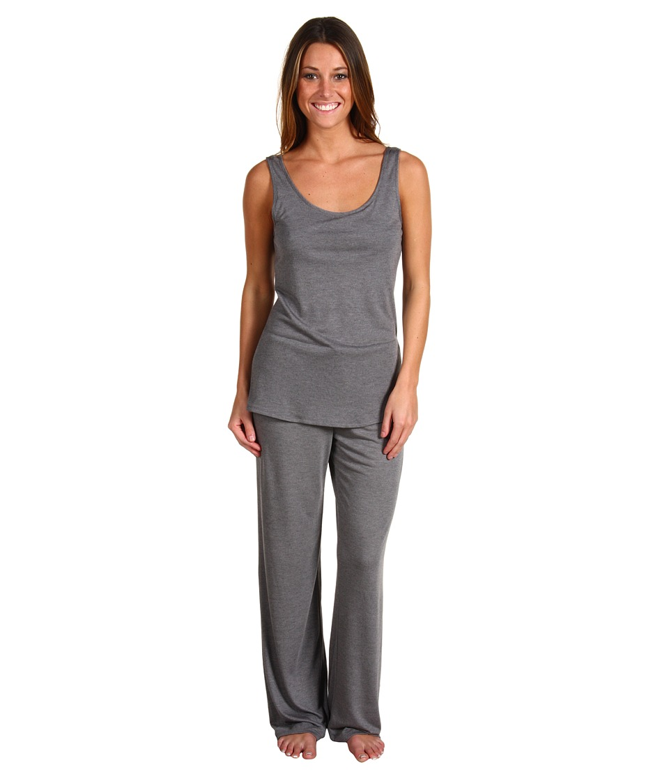 Natori - Zen Floral Tank PJ w/ Shelf Bra (Heather Grey) Womens Pajama Sets
