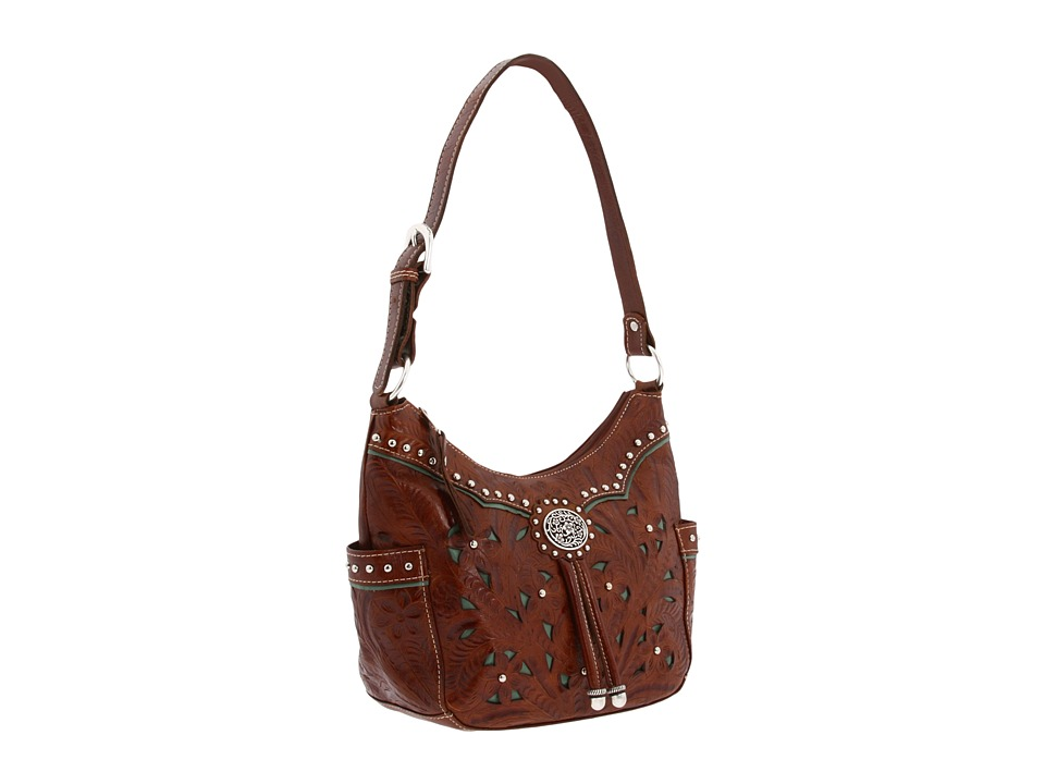 American West Lady Lace Hobo (Brown/Turquoise) Hobo Handbags