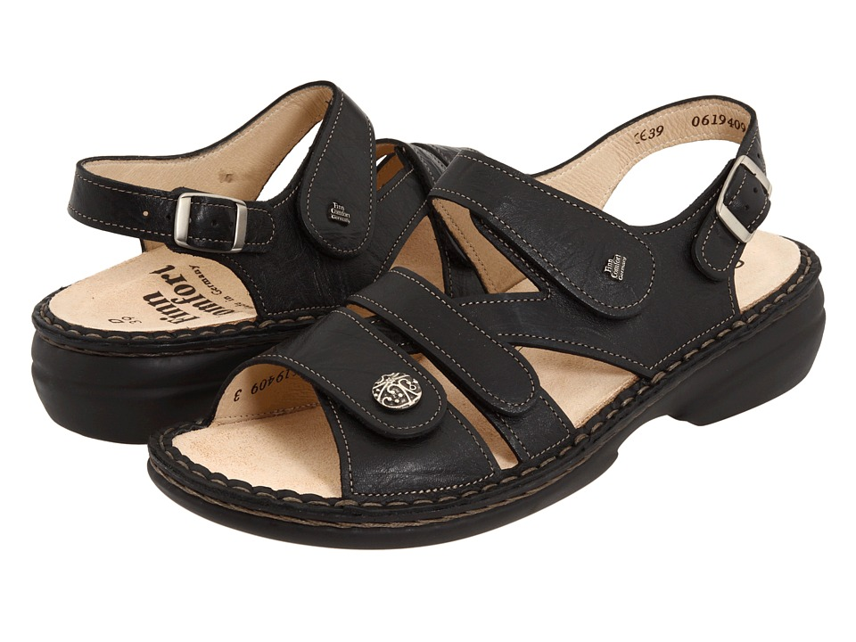 Finn Comfort - Gomera - 82562 (Black Leather) Women's Sandals