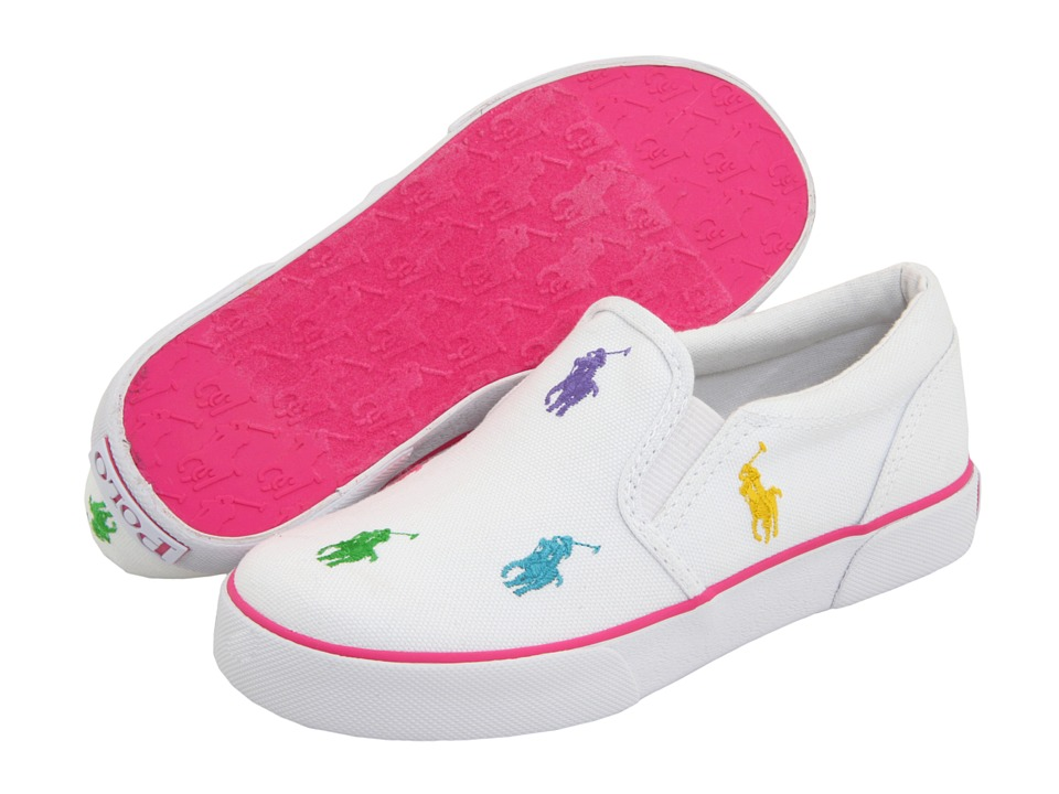 Polo Ralph Lauren Kids - Bal Harbour Repeat (Little Kid) (White/Multi Canvas) Girls Shoes