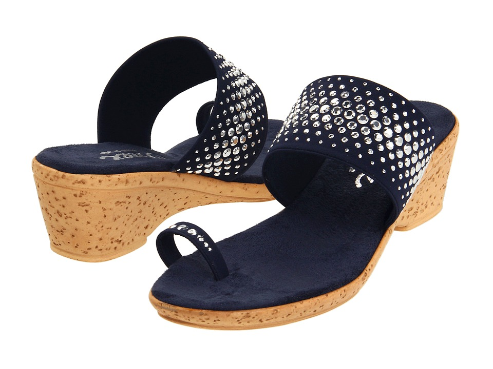 Onex Ring (Navy Elastic) Wedge Shoes