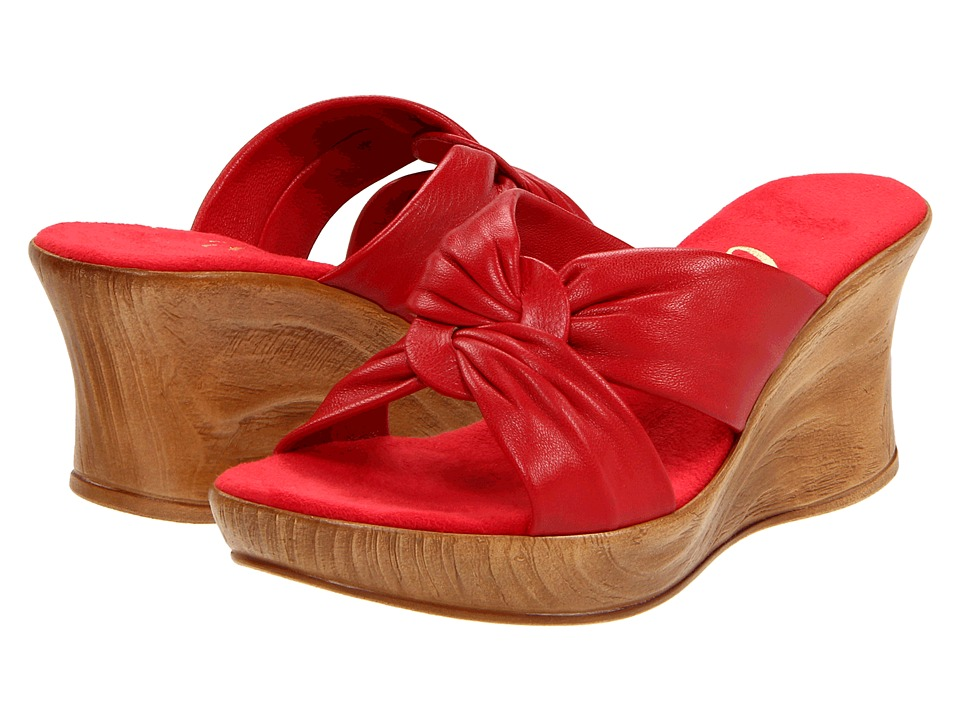 Onex Puffy (Red Leather) Women's Wedge Shoes