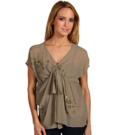 Robbi & Nikki - Beaded Chiffon Overlay Top