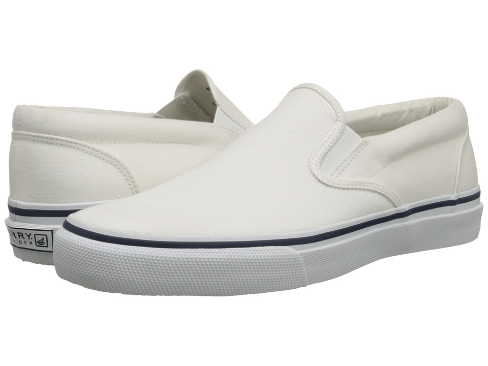 Sperry - Striper Slip On (White Canvas) Mens Slip on  Shoes