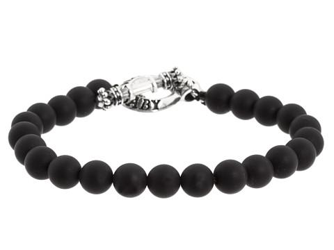 King Baby Studio Onyx Bead Bracelet with Silver Clasp