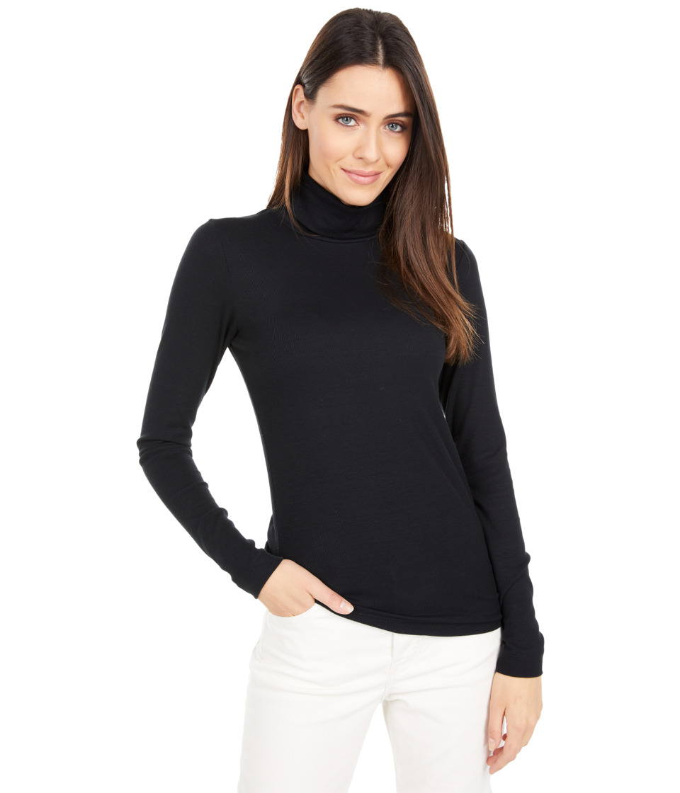 Three Dots - 2x1 Viscose L/S Turtleneck (Black) Womens Long Sleeve Pullover