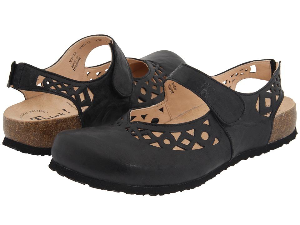 Think! Julia 86341 (Black Leather) Women's Clogs