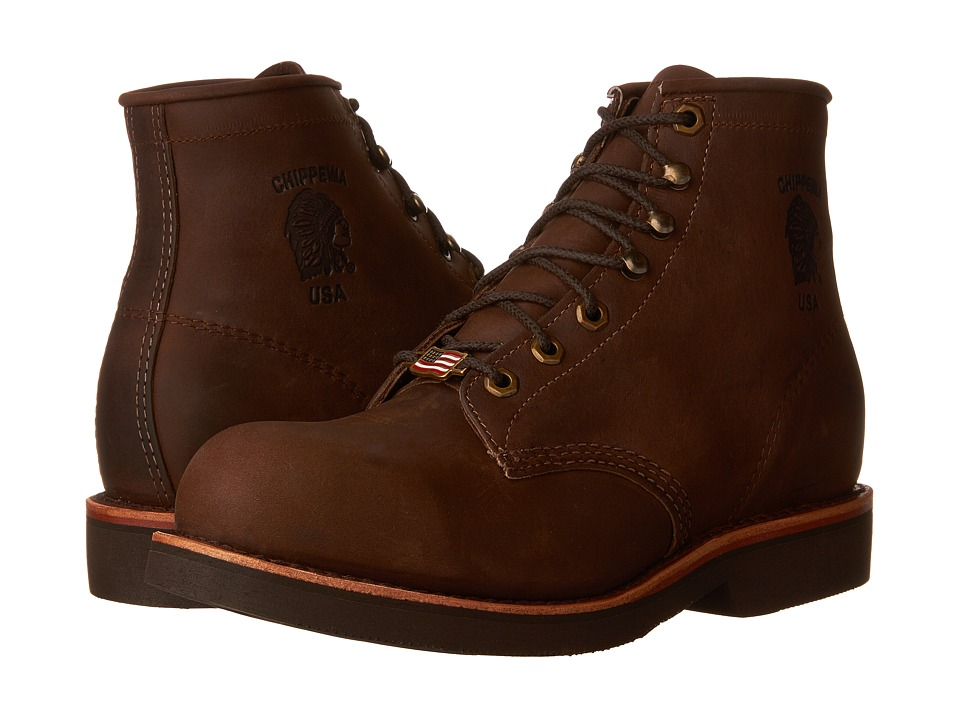 Chippewa - 6 Apache Steel Toe Lace Up (Chocolate) Mens Work Boots