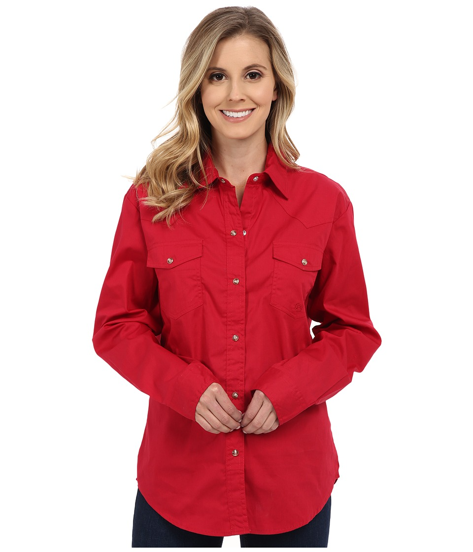 Roper - Solid Poplin L/S Shirt (Red) Womens Clothing