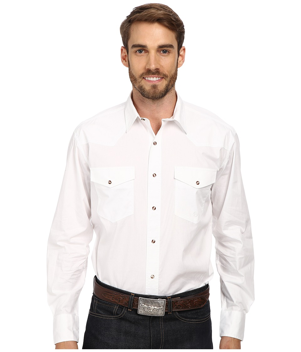 Roper - Solid Poplin L/S Shirt (White) Mens Long Sleeve Button Up