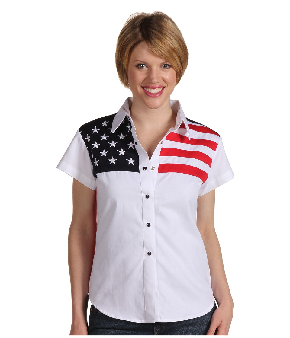 Scully - Stars Stripes Shirt (White) Womens Short Sleeve Button Up