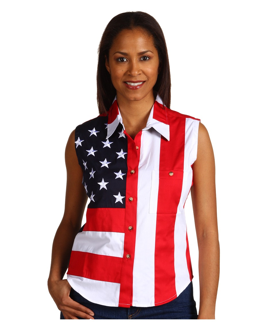 Scully - Sleeveless Patriot Shirt (Red) Womens Clothing