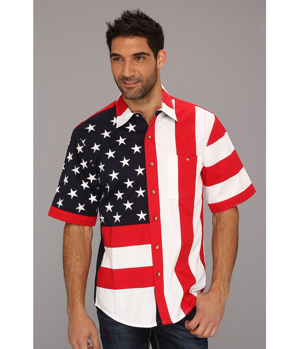Scully - Patriot S/S Shirt (Red/Red) Mens Short Sleeve Button Up