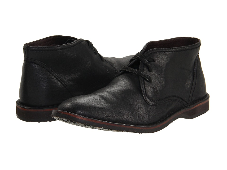 John Varvatos Hipster Chukka Black Calfskin Mens Lace up Boots