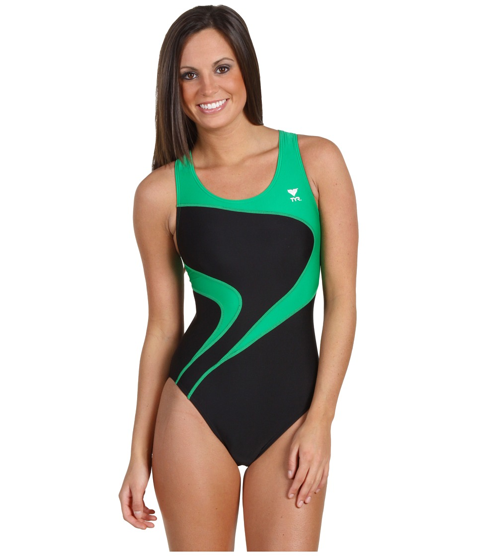 TYR Alliance T-Splice Maxback (Black/Green) Women
