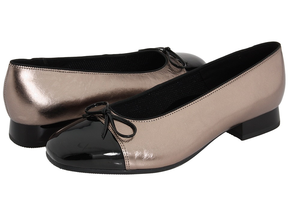 ara - Bel (Titan Metallic Calf w/ Black Patent Tip) Womens Slip-on Dress Shoes