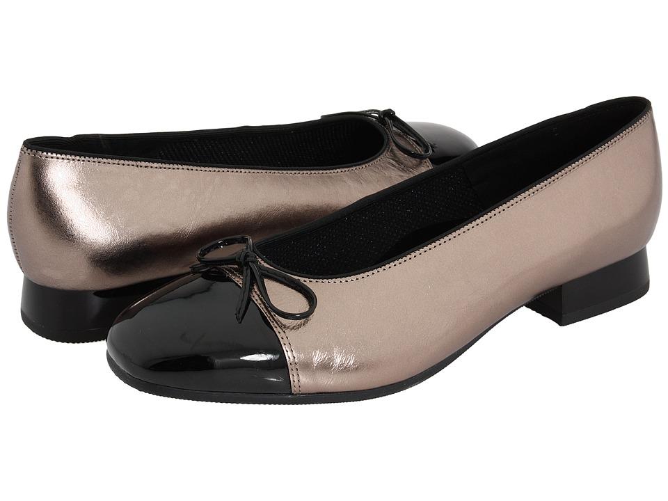 ara - Bel (Titan Metallic Calf w/ Black Patent Tip) Women's Slip-on Dress Shoes