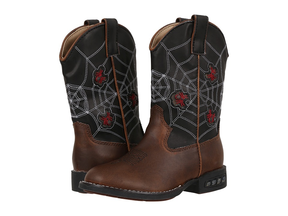 Roper Kids Spider Lighted Cowboy Boots (Toddler/Little Kid) (Brown/Black) Cowboy Boots