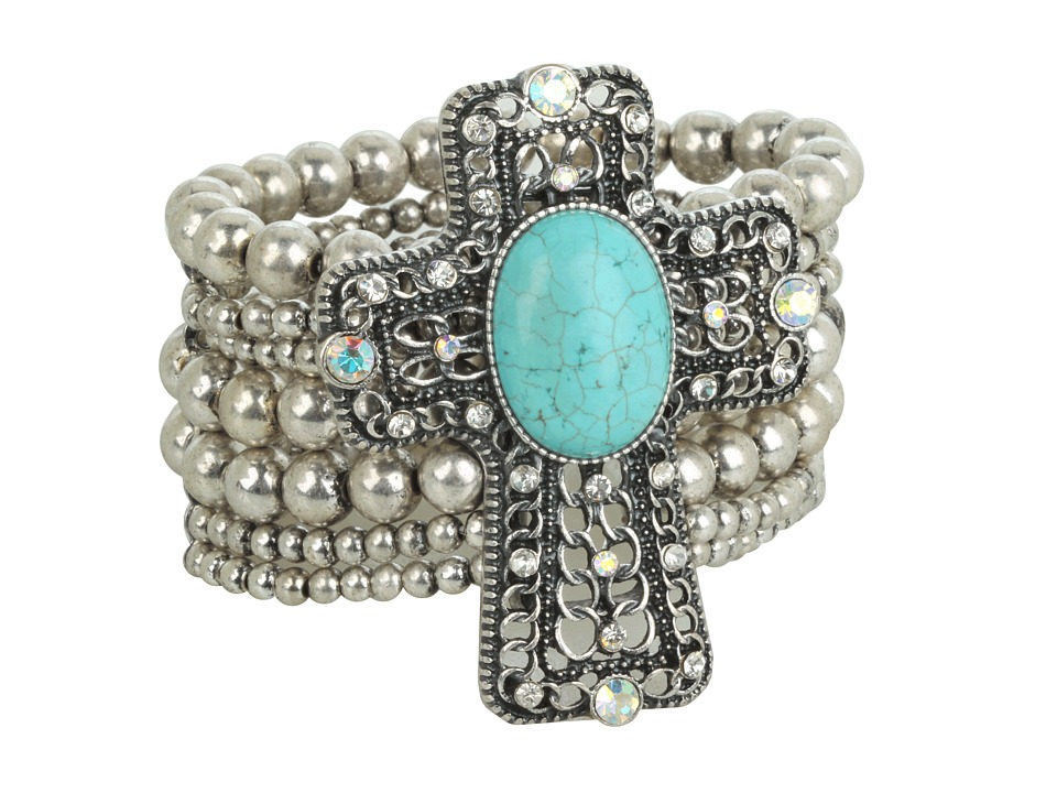 MampF Western Western Charm Cross W/Turquoise Stone And Crystals Bracelet Silver Bracelet