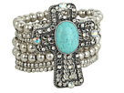 M&F Western - Western Charm Cross W/Turquoise Stone And Crystals Bracelet
