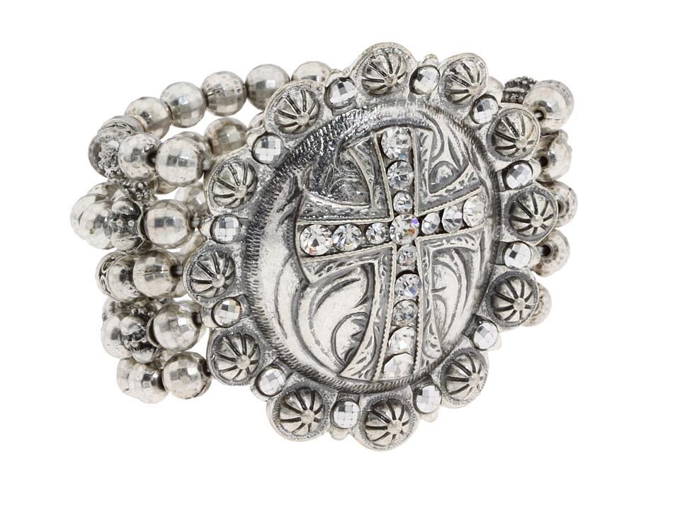 MampF Western Western Charm Cross Berry Concho Bracelet Silver Bracelet