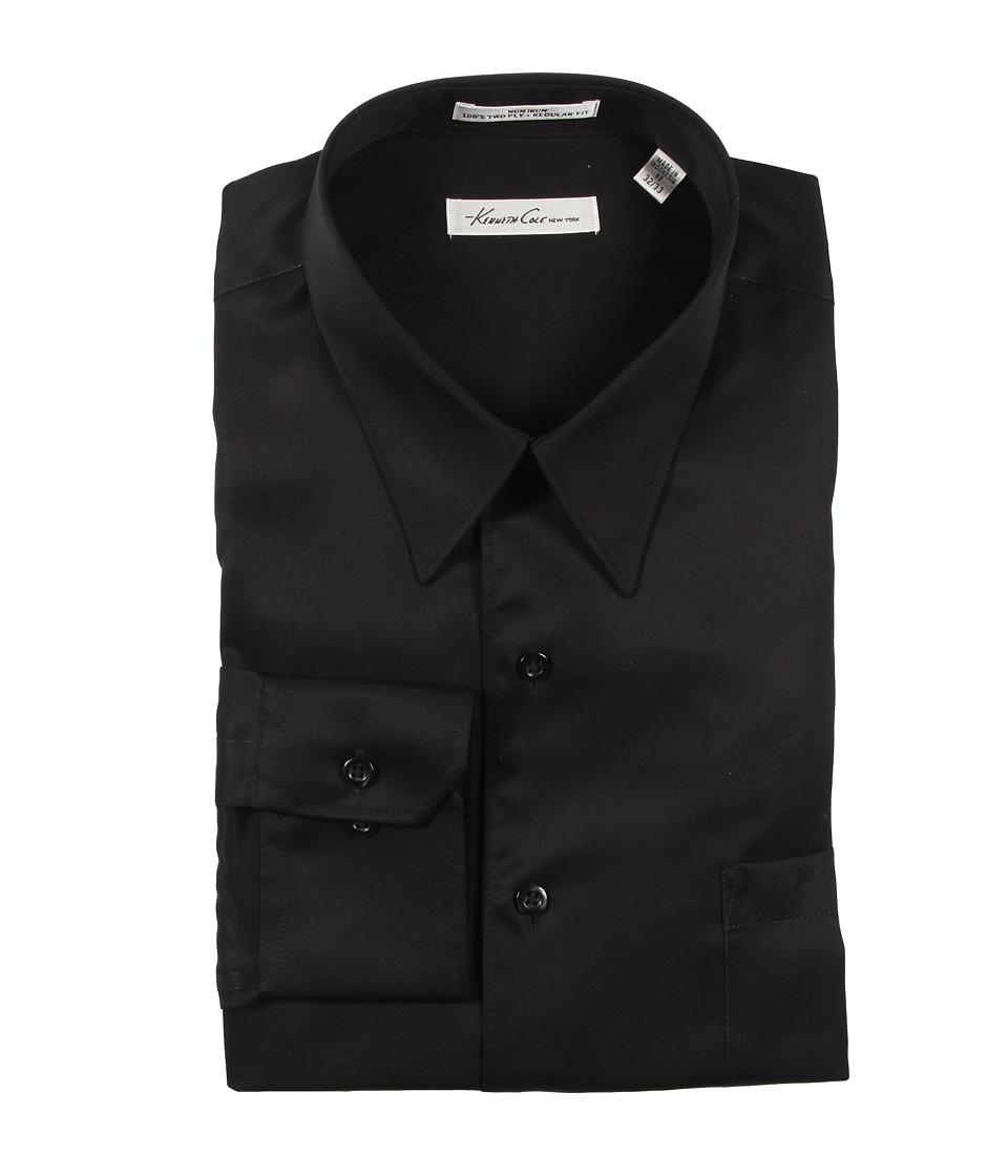 Kenneth Cole New York Non Iron Modern Sateen Cotton Shirt Black Mens Long Sleeve Button Up