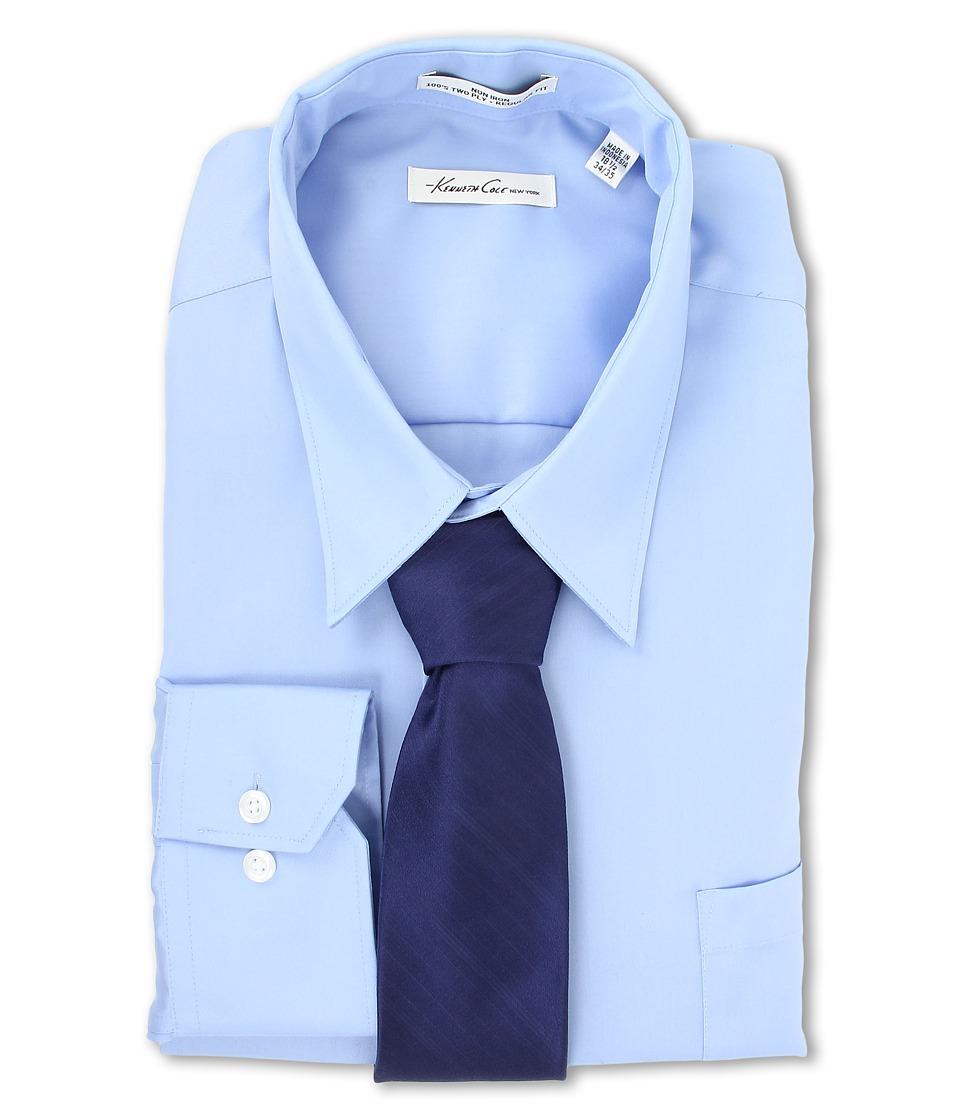 Kenneth Cole New York Non Iron Modern Sateen Cotton Shirt Blue Topaz Mens Long Sleeve Button Up