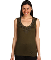Anne Klein - Embellished Beading Scoop Neck Tank