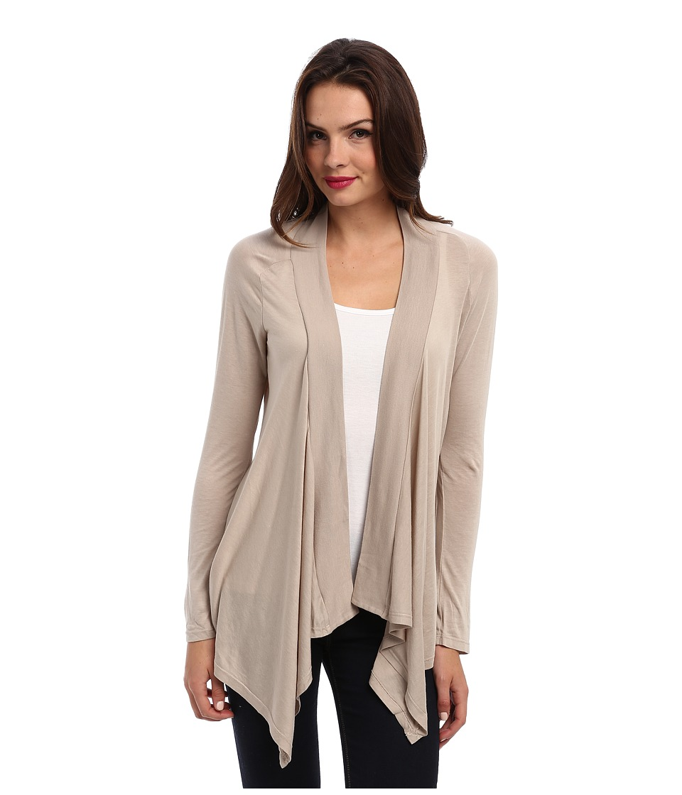 Splendid Very Light Jersey Drape Cardigan (Almond) Women