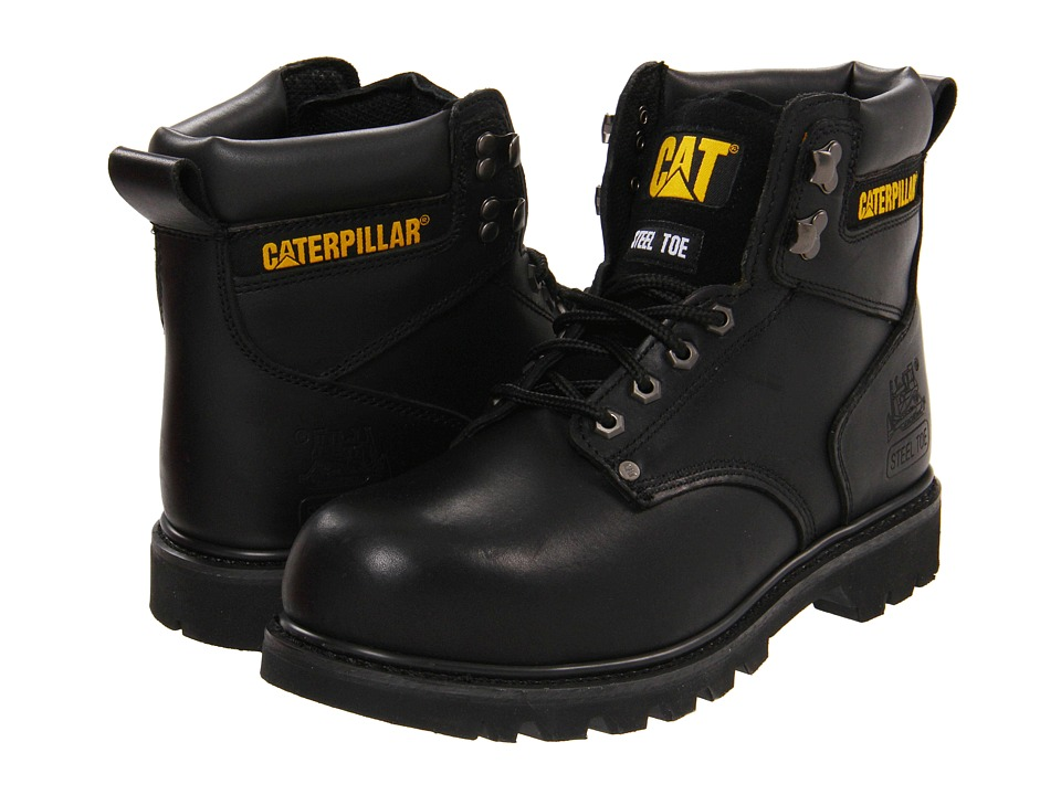 Caterpillar 2nd Shift Steel Toe Black Full Grain Mens Work Boots