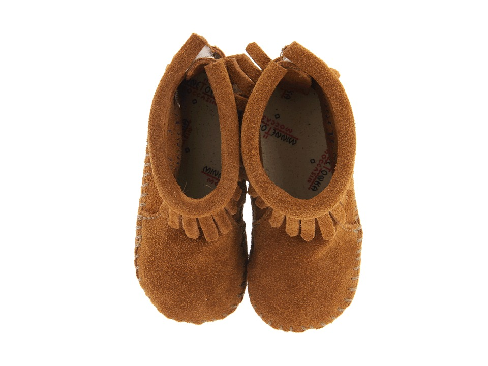 Minnetonka Kids Suede Back Flap Bootie Infant/Toddler Brown Suede Kids Shoes