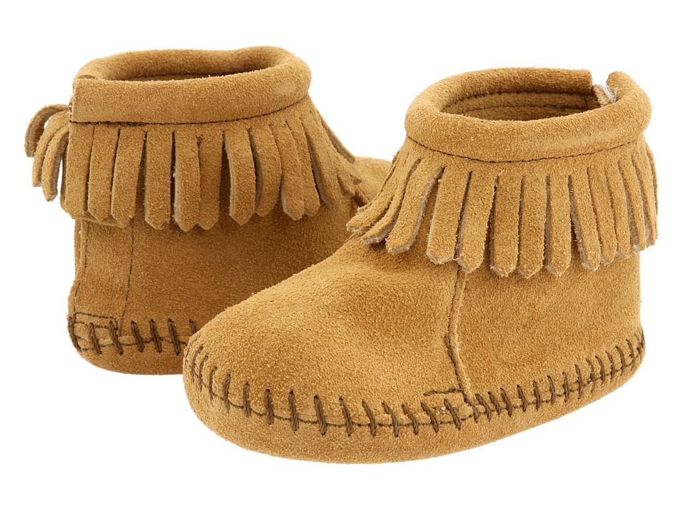 Minnetonka Kids Suede Back Flap Bootie Infant/Toddler Tan Suede Kids Shoes