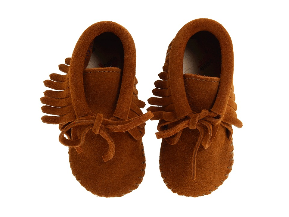 Minnetonka Kids - Fringe Bootie (Infant/Toddler) (Brown Suede) Kids Shoes
