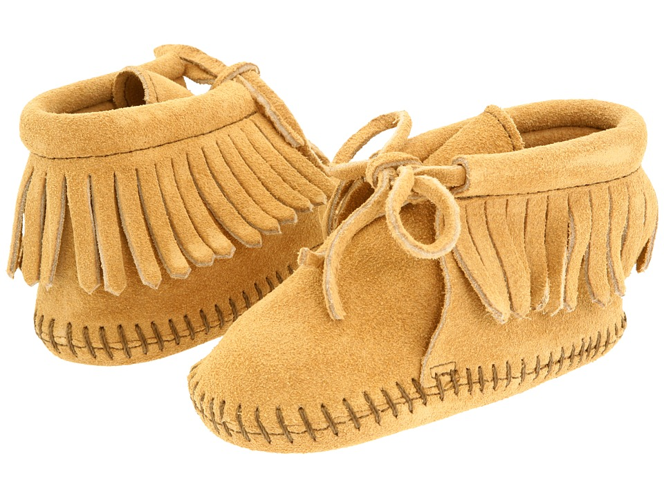 Minnetonka Kids Fringe Bootie Infant/Toddler Tan Suede Kids Shoes