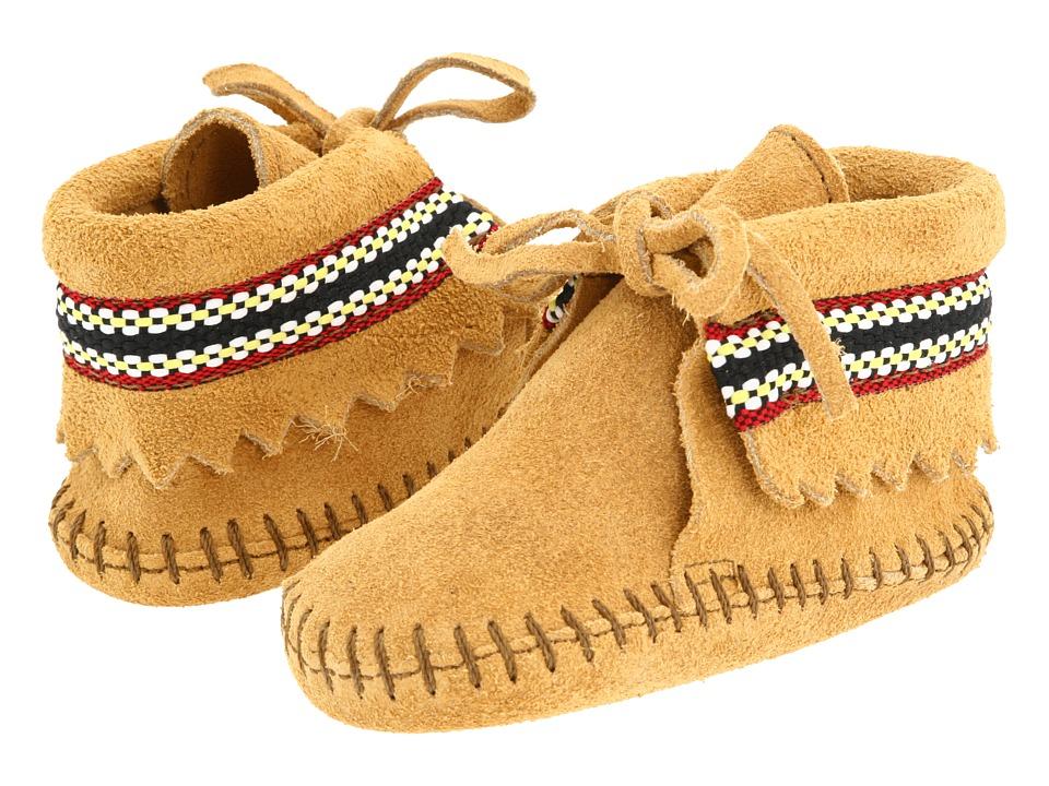 Minnetonka Kids - Braid Bootie (Infant/Toddler) (Tan Suede) Kids Shoes