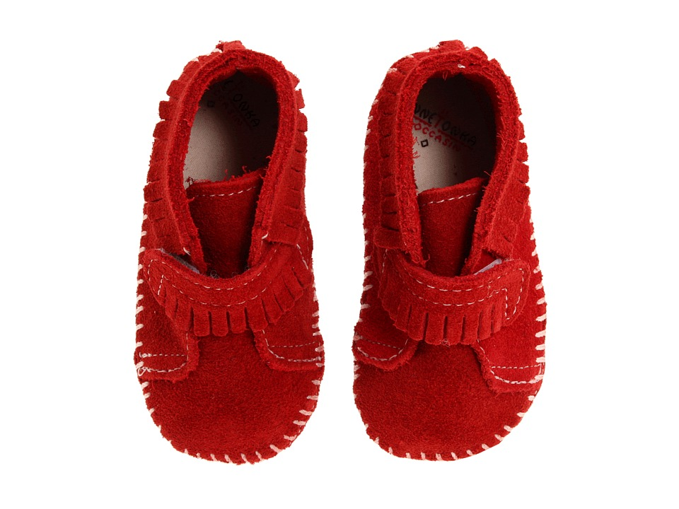 Minnetonka Kids Front Strap Bootie Infant/Toddler Red Suede Kids Shoes