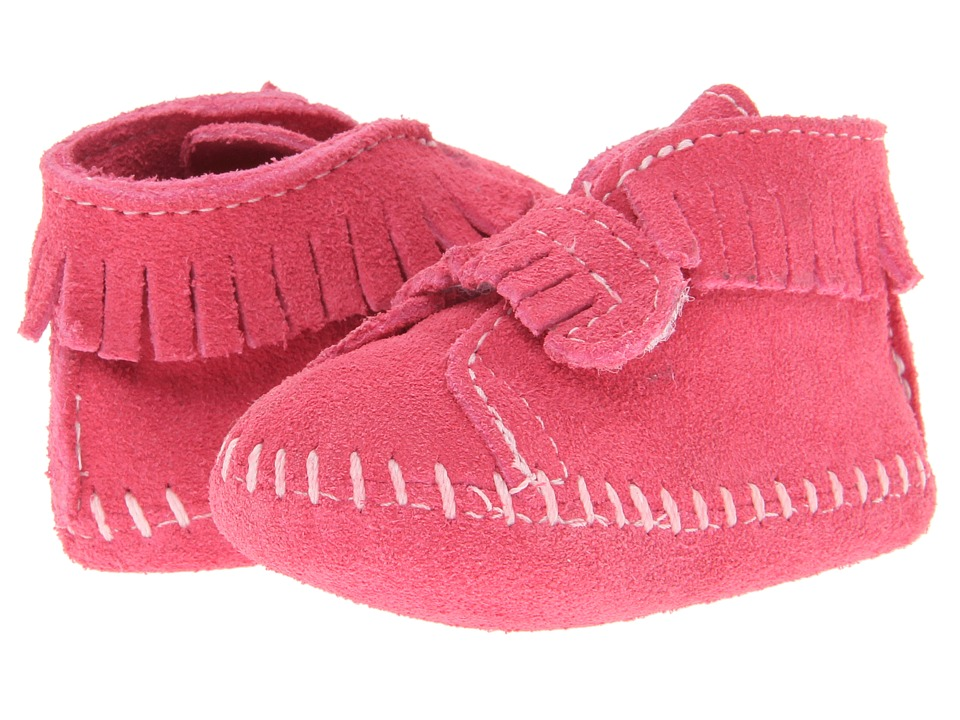 Minnetonka Kids Front Strap Bootie Infant/Toddler Pink Suede Girls Shoes