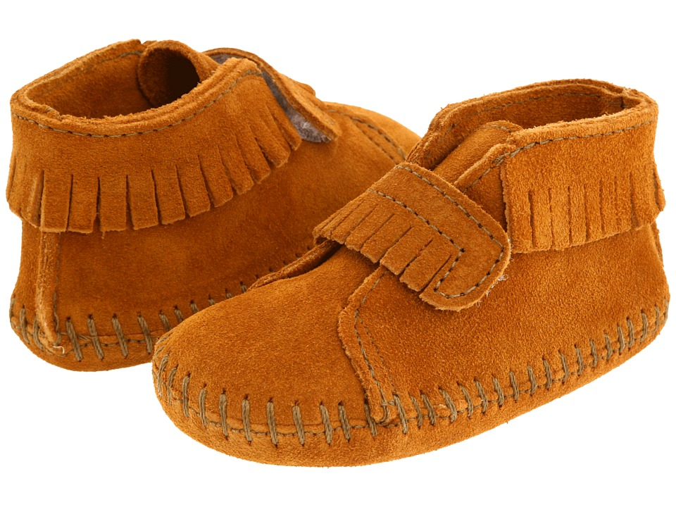 Minnetonka Kids Front Strap Bootie Infant/Toddler Brown Suede Kids Shoes
