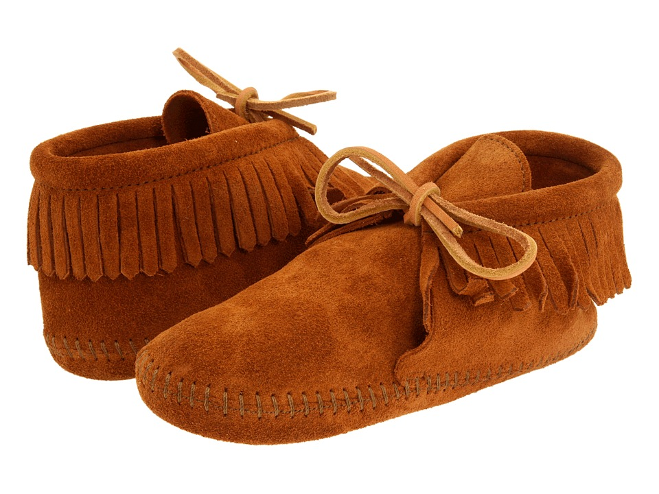 Minnetonka Kids - Classic Fringed Boot Softsole (Toddler/Little Kid/Big Kid) (Brown Suede) Kids Shoes
