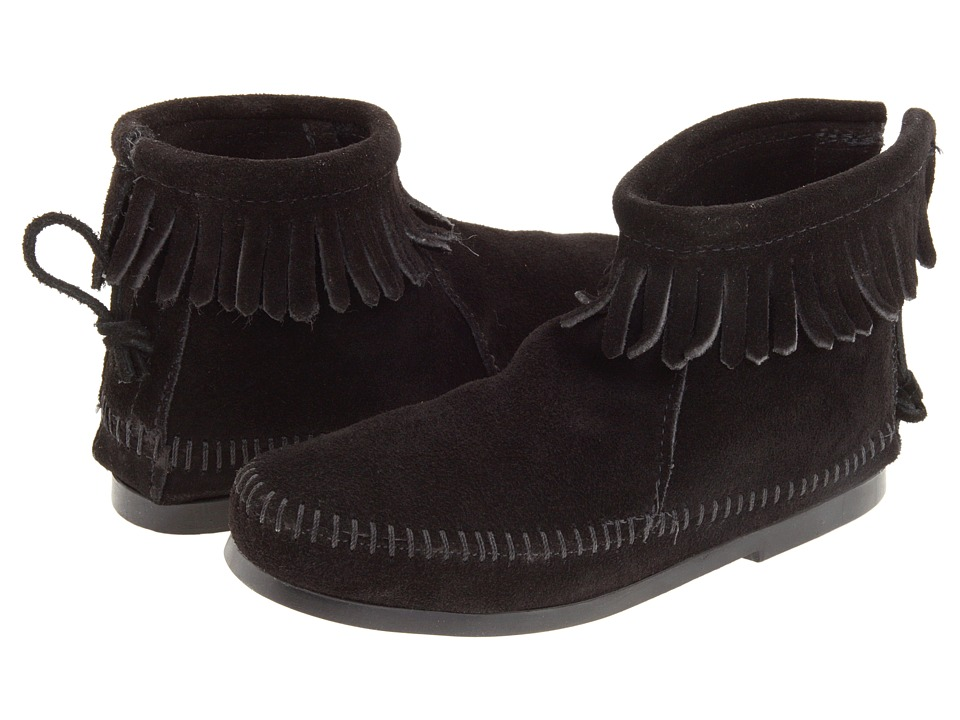 Minnetonka Kids - Back Zipper Boot Hardsole (Toddler/Little Kid/Big Kid) (Black Suede) Girls Shoes