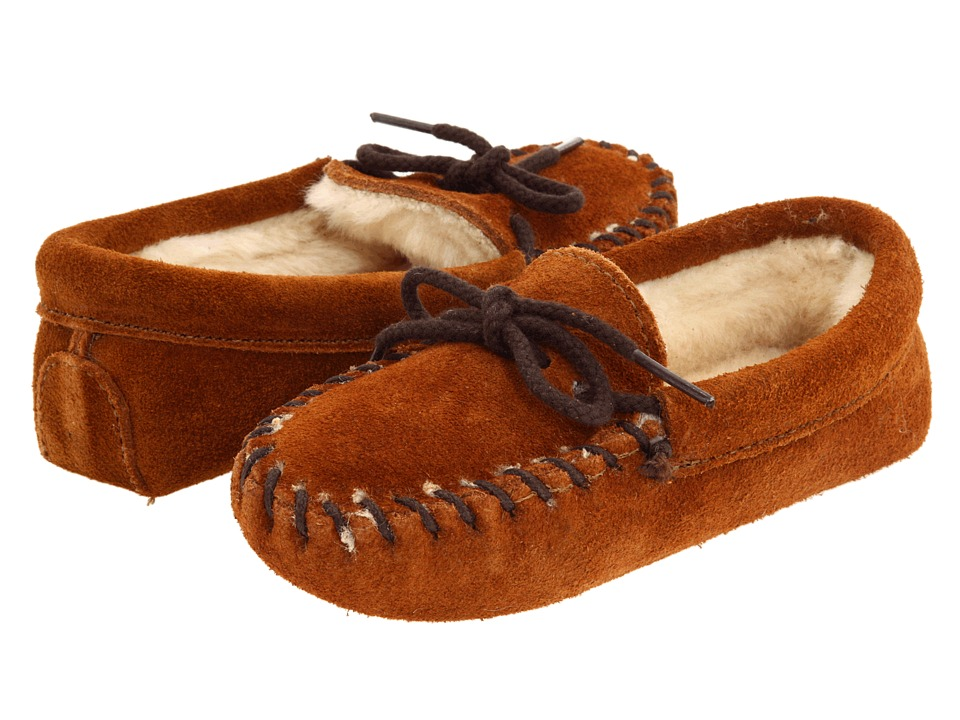 Minnetonka Kids Pile Lined Slipper Toddler/Little Kid Brown Suede Kids Shoes
