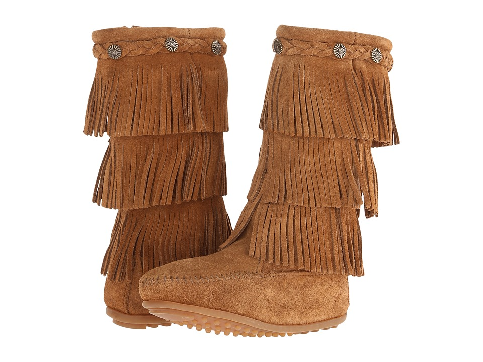 Minnetonka Kids - 3-Layer Fringe Boot (Toddler/Little Kid/Big Kid) (Dusty Brown Suede) Girls Shoes