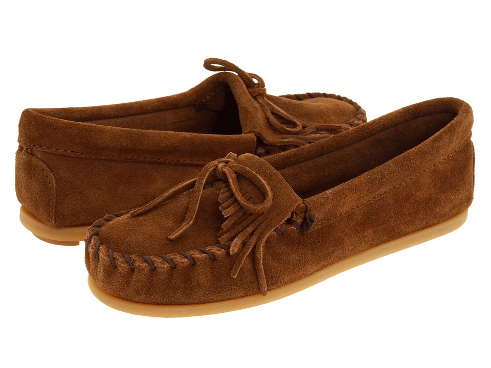 Minnetonka Kids Kilty Suede Moc Toddler/Little Kid/Big Kid Dusty Brown Suede Kids Shoes